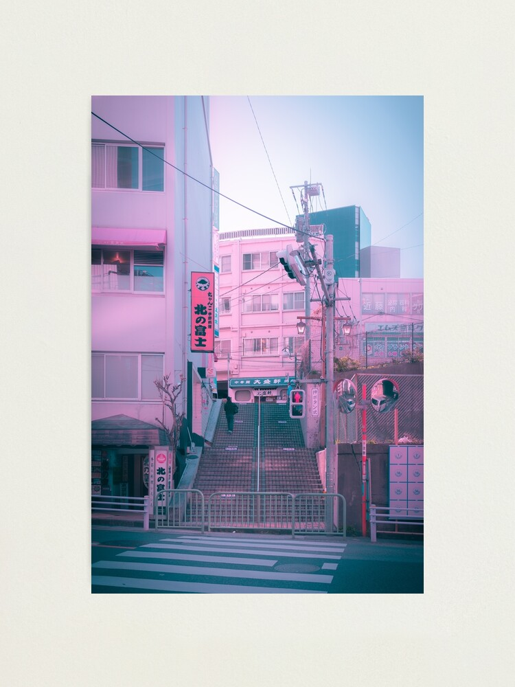 Alternate view of Vaporwave Aesthetic Tokyo Pink Japan Citypop lofi moody vibe Photographic Print