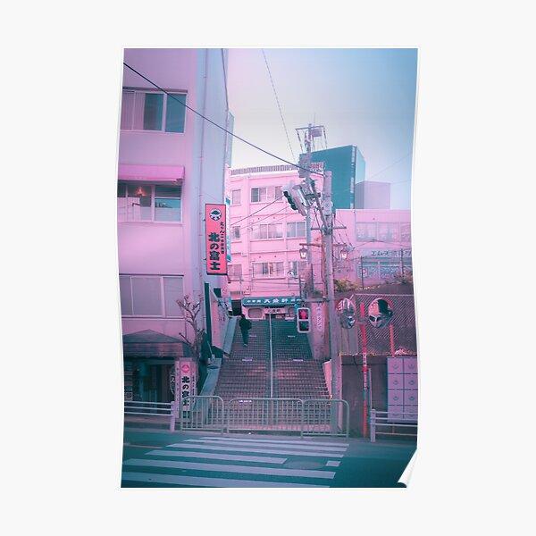 Vaporwave Aesthetic Tokyo Pink Japan Citypop lofi moody vibe Poster