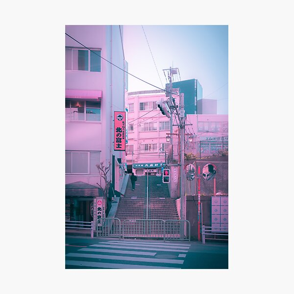 Vaporwave Aesthetic Tokyo Pink Japan Citypop lofi moody vibe Photographic Print