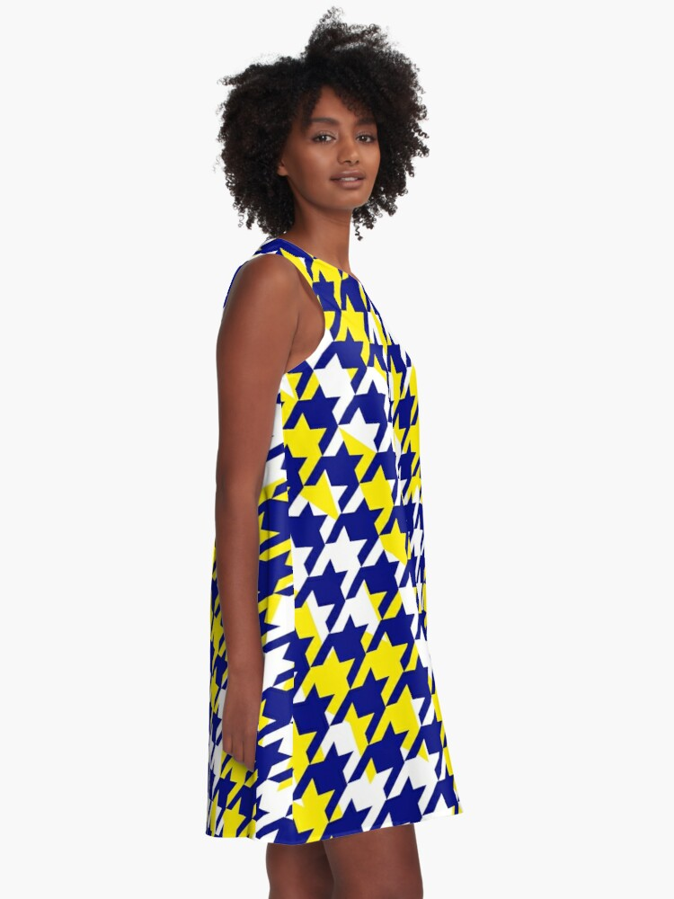 Alternate view of Double houndstooth pattern in blue, white and yellow combo A-Line Dress