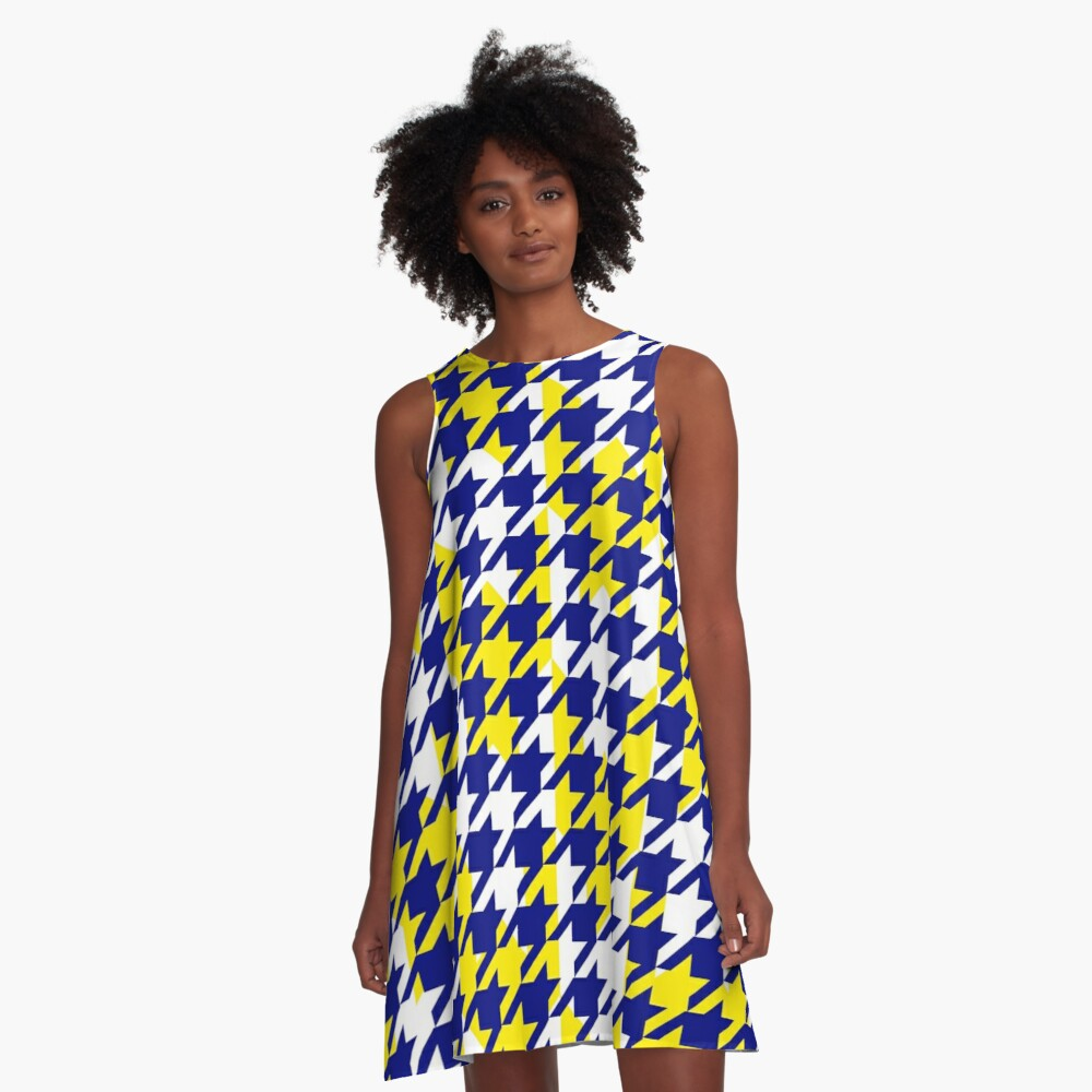 Double houndstooth pattern in blue, white and yellow combo A-Line Dress