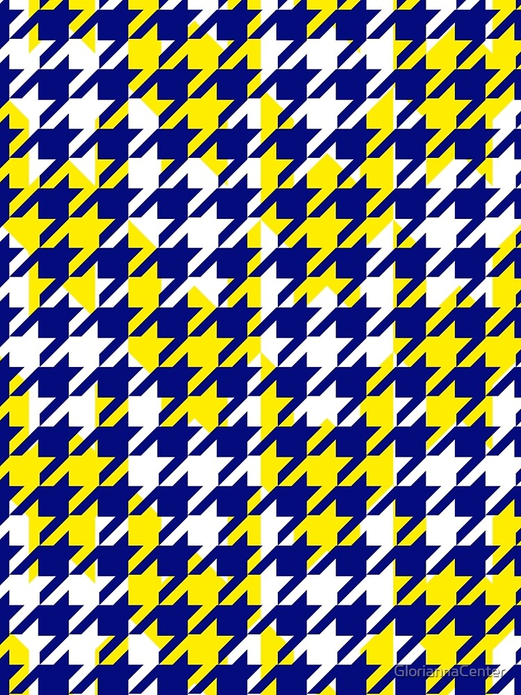 Double houndstooth pattern in blue, white and yellow combo by GloriannaCenter