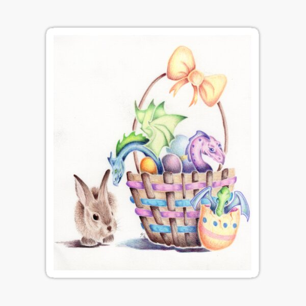 A basket of Easter Dragons Sticker