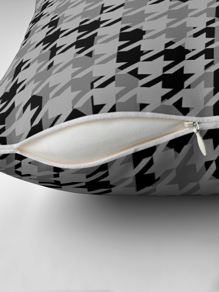 Alternate view of Double houndstooth pattern in grey and black combo Throw Pillow