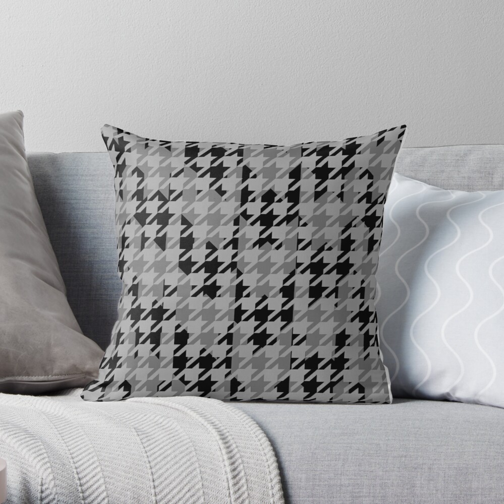 Double houndstooth pattern in grey and black combo Throw Pillow