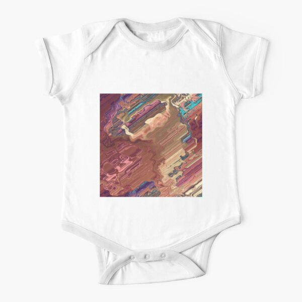 Abstract Acrylic Colorful Earth Tones Short Sleeve Baby One-Piece