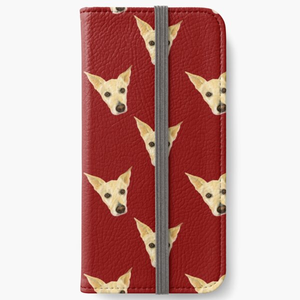 Cute White Dog Faces - Pop Art Pattern on Red Palette iPhone Wallet