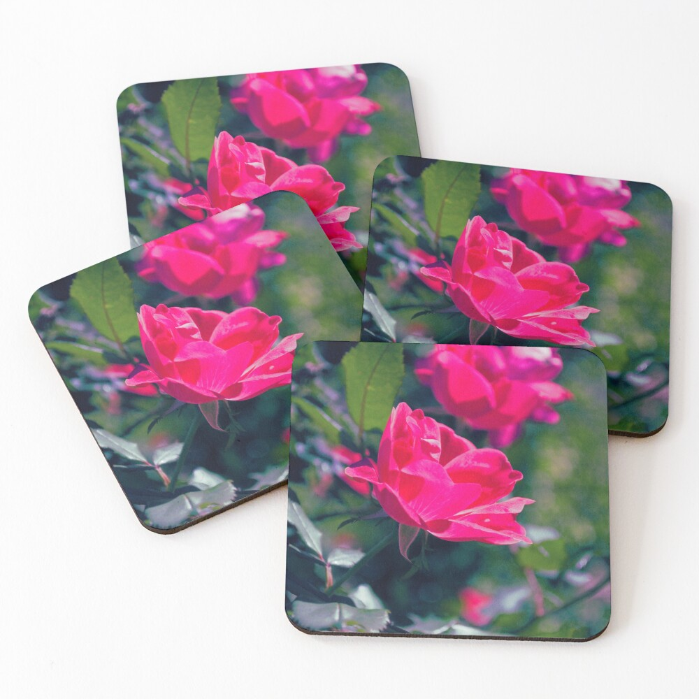 Roses and Leaves Coasters (Set of 4)