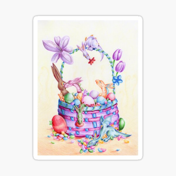 Candy and Dragon Easter Basket  Sticker