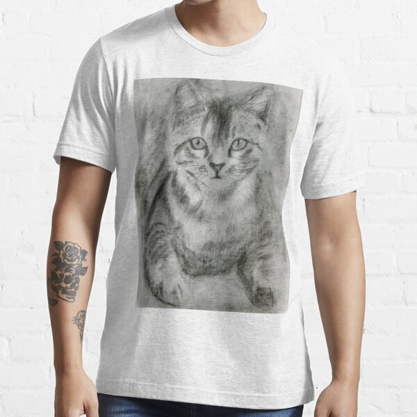 Realistic Cat Drawing Art - Black and White Cat (gift for cat lovers) Essential T-Shirt