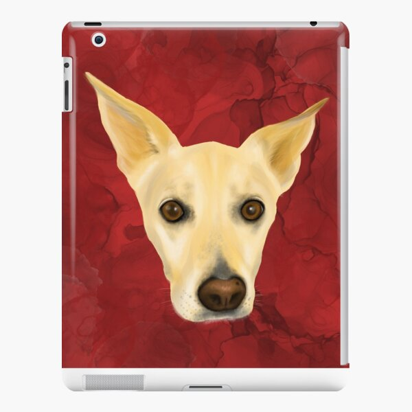 White Dog Portrait on Red Artistic Background iPad Snap Case