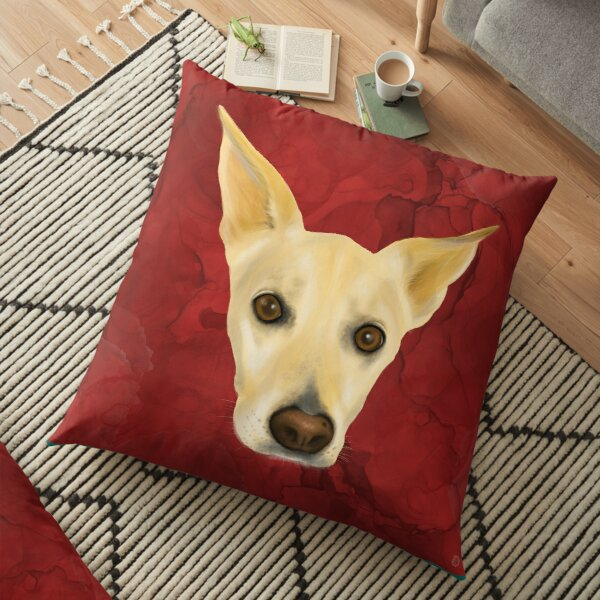 White Dog Portrait on Red Artistic Background Floor Pillow