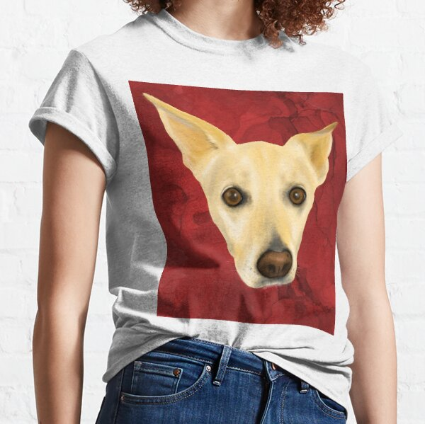 White Dog Portrait on Red Artistic Background Classic T-Shirt