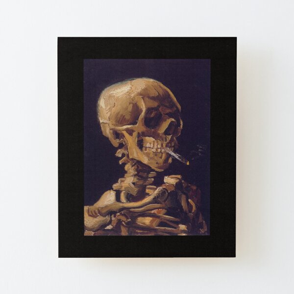 'El cráneo con un cigarrillo encendido' de Vincent Van Gogh Lámina montada de madera