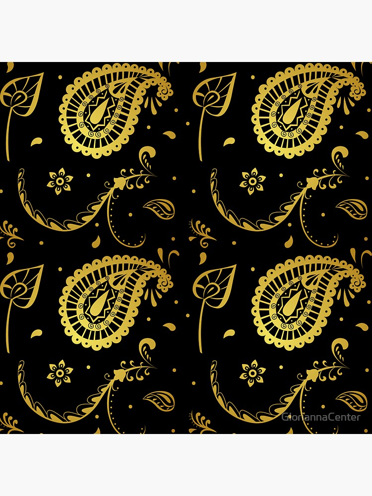 Gold paisley print on black by GloriannaCenter