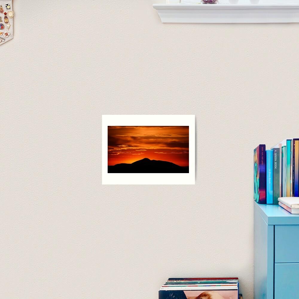 Fire smoke sunset, Mt. Feathertop Art Print