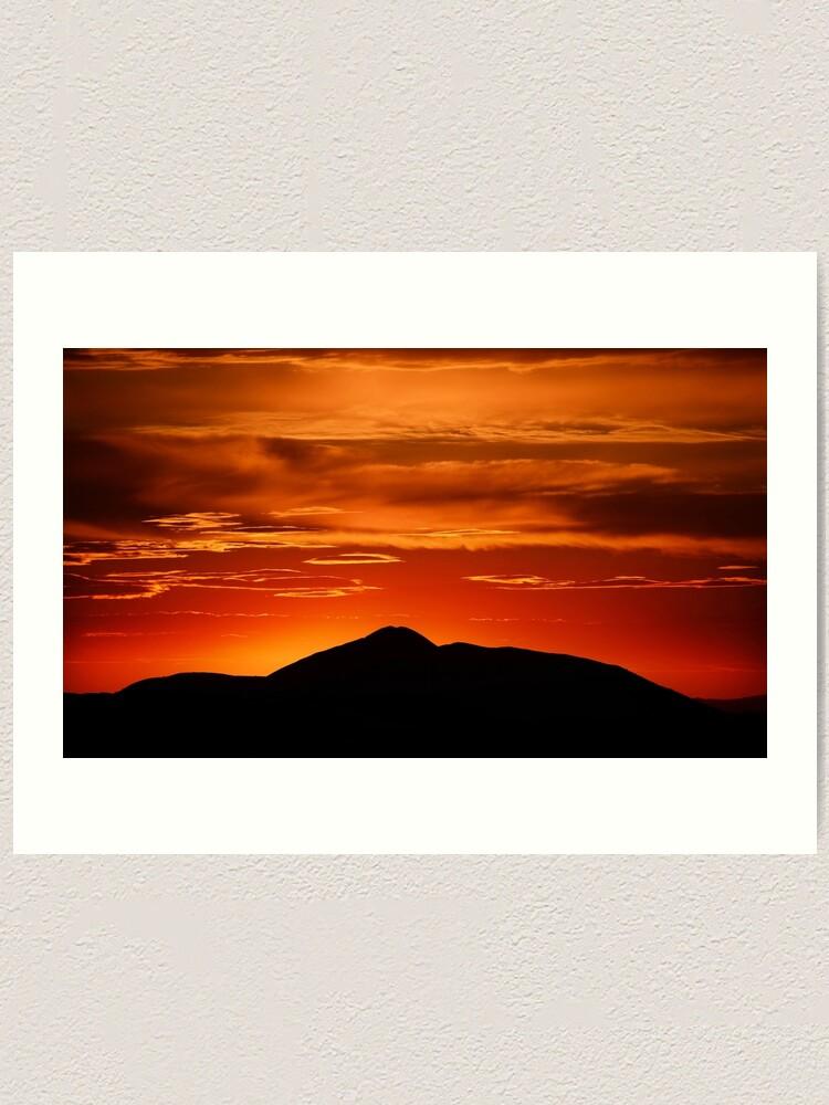 Alternate view of Fire smoke sunset, Mt. Feathertop Art Print