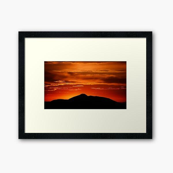 Fire smoke sunset, Mt. Feathertop Framed Art Print