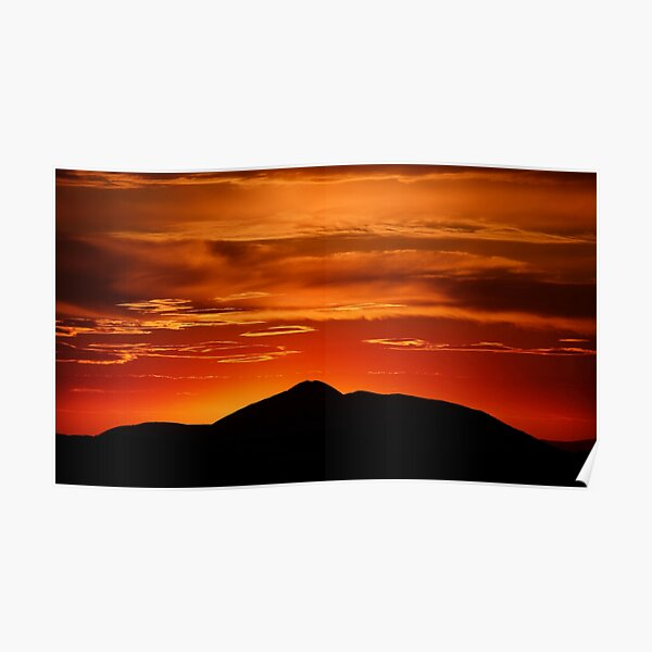 Fire smoke sunset, Mt. Feathertop Poster