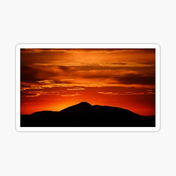 Fire smoke sunset, Mt. Feathertop Sticker