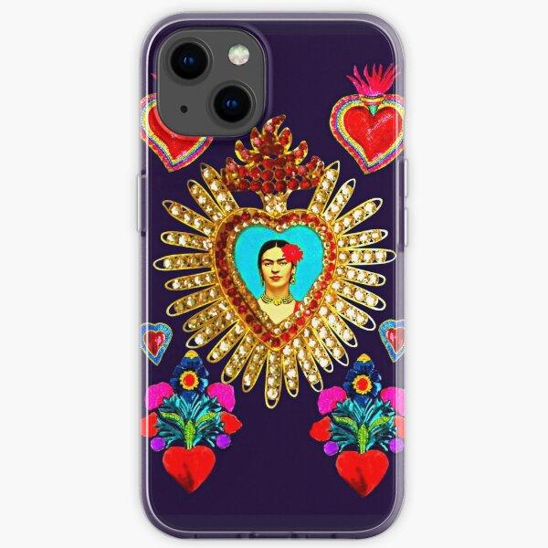 Sanctuaire mexicain Frida Tin Hearts Coque souple iPhone