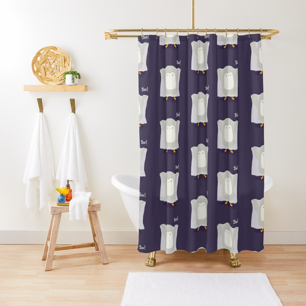 Boo! A Penguin Ghost Shower Curtain