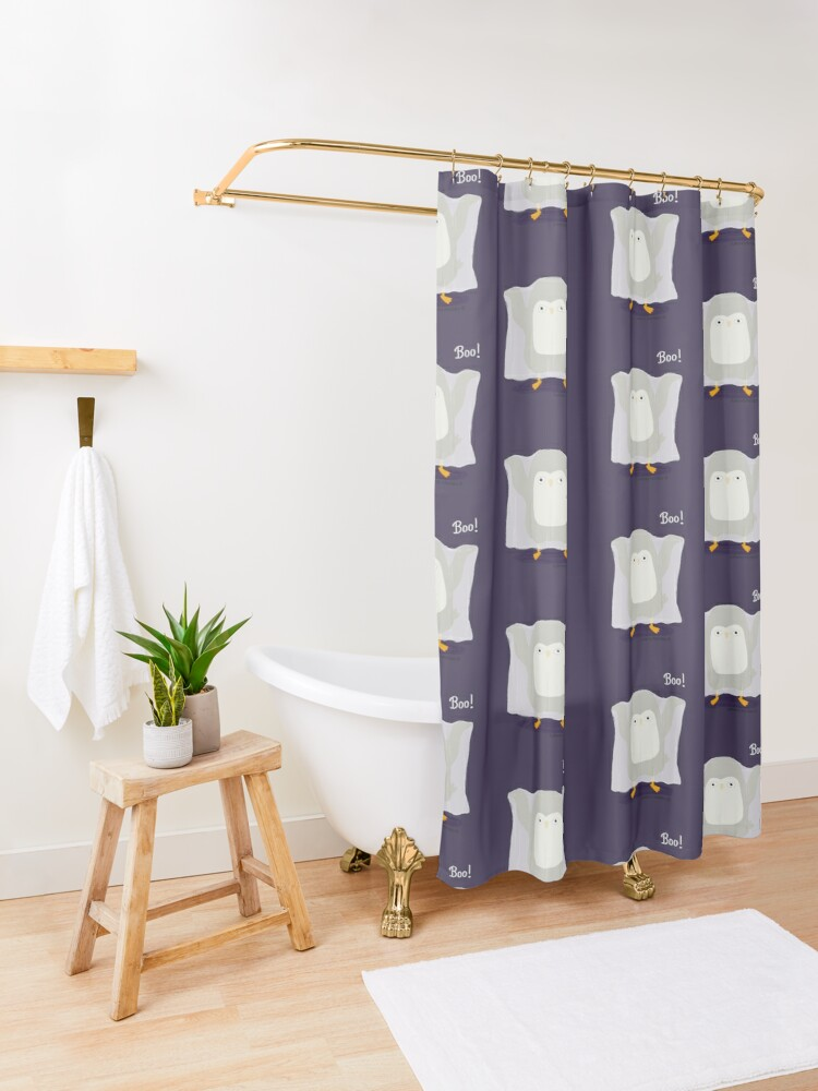 Alternate view of Boo! A Penguin Ghost Shower Curtain