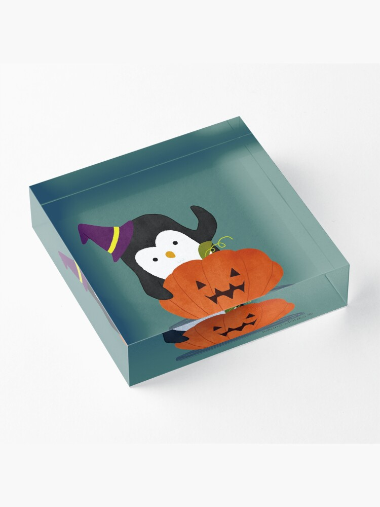 Alternate view of Penguin with Halloween Pumpkin Acrylic Block