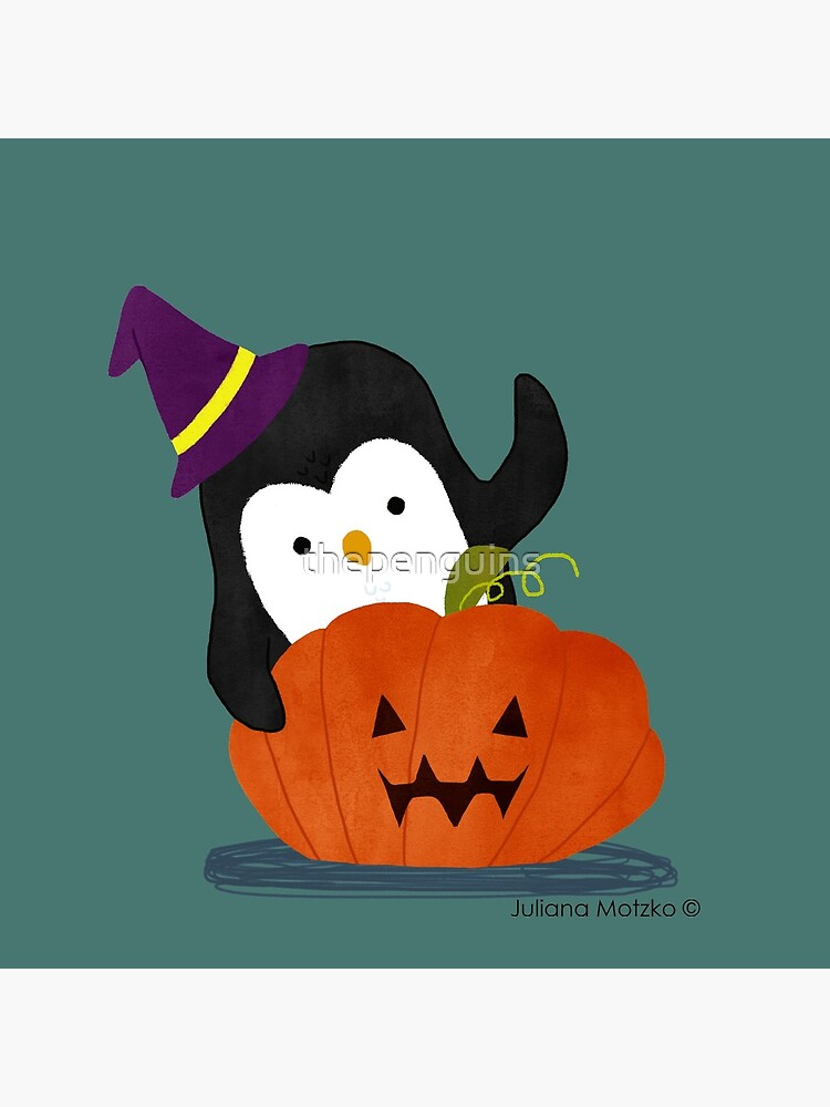 Penguin with Halloween Pumpkin by thepenguins