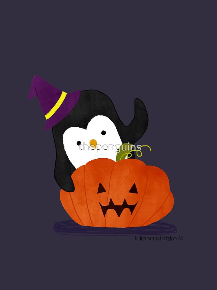 Penguin with Halloween Pumpkin by thepenguins