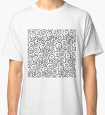 Modern Black and White Abstract Swirly Pattern Classic T-Shirt
