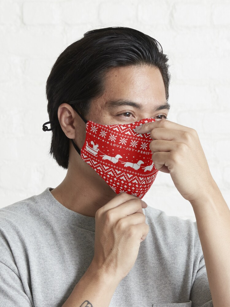 Alternate view of Dachshunds Christmas Sweater Pattern Mask