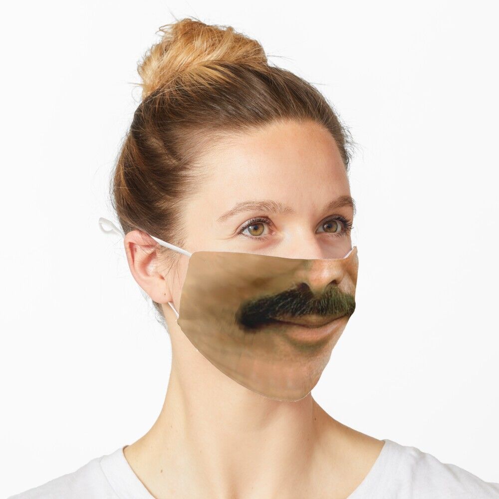 Burt Reynolds Moustache Face Mask 3D Printed Realistic Expression Unisex Fabric Mask for all adults and children alike. Reusable Washable 2 layer Polyester Cloth Mask