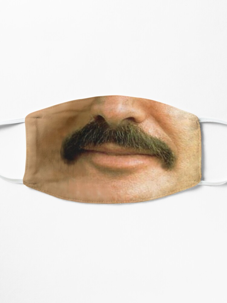 Alternate view of Burt Reynolds Moustache Face Mask 3D Printed Realistic Expression Unisex Fabric Mask for all adults and children alike. Reusable Washable 2 layer Polyester Cloth Mask