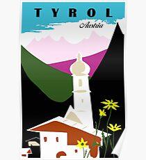 Retro vintage Tyrol Austria travel advertising Poster