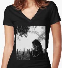 Cemetery Women's Fitted V-Neck T-Shirt