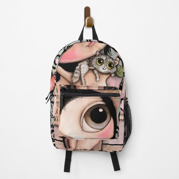 Tree of life with little child big eyes and the brindle cat Backpack