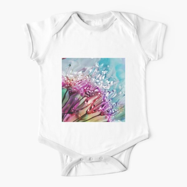 Colorful Abstract  Acrylic Flowers Short Sleeve Baby One-Piece
