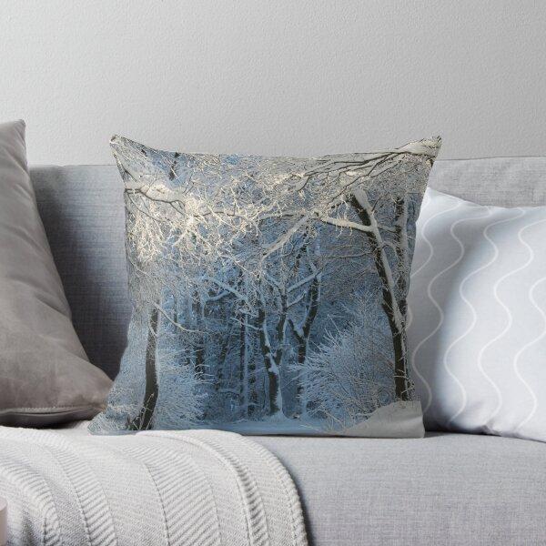 Snowy Winter Woodland Scene Throw Pillow