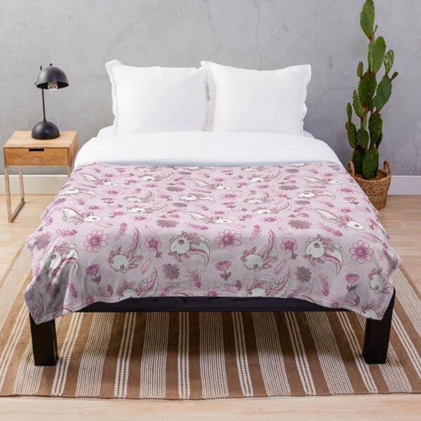 Floral Speckled Axolotl Pattern - Summer Edition Throw Blanket