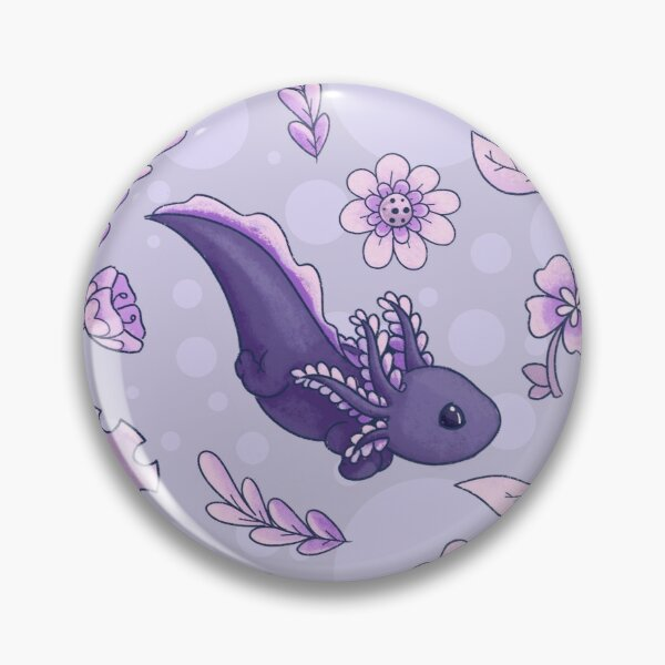 Floral Speckled Axolotl Pattern - Winter Edition Pin