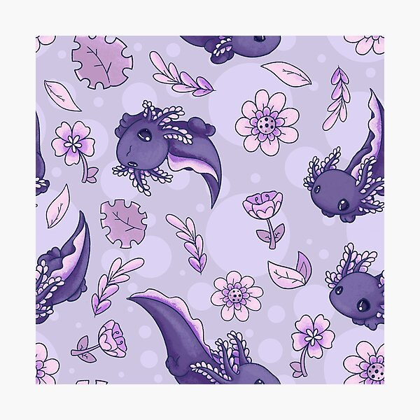 Floral Speckled Axolotl Pattern - Winter Edition Photographic Print