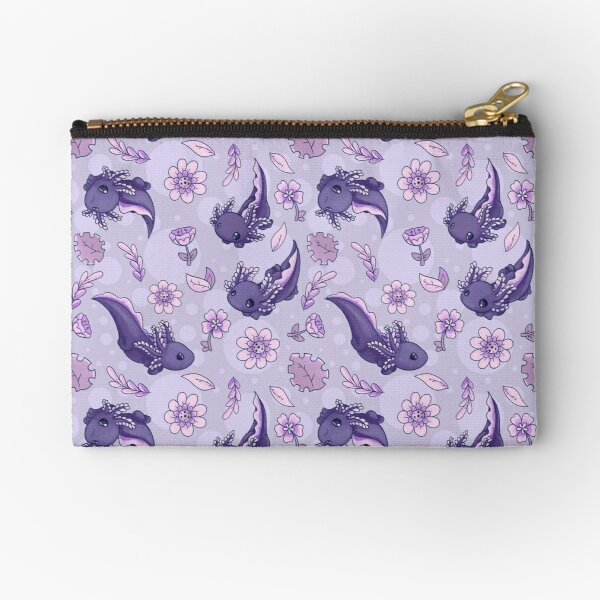 Floral Speckled Axolotl Pattern - Winter Edition Zipper Pouch