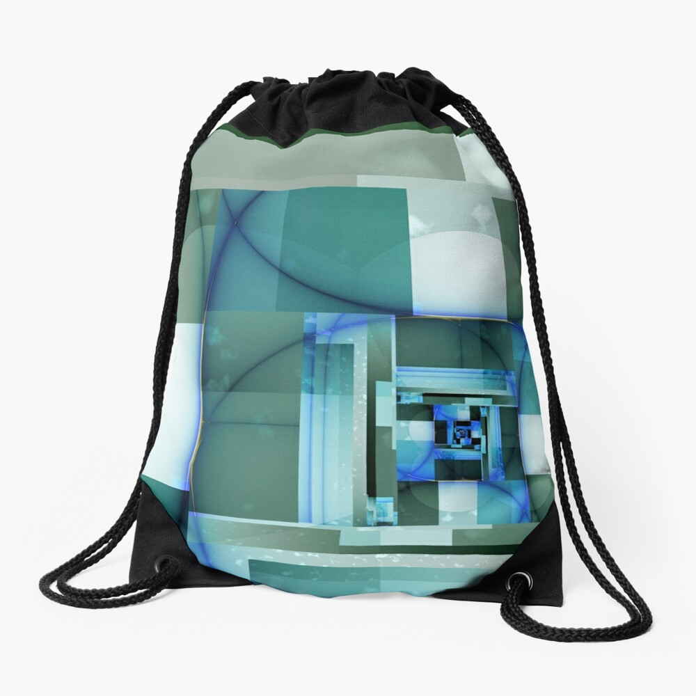 City Abstract - Blue / Teal Drawstring Bag