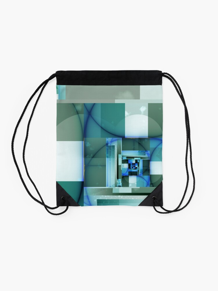 Alternate view of City Abstract - Blue / Teal Drawstring Bag