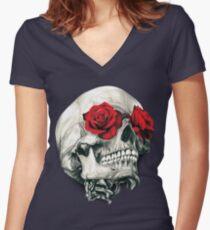Rose Eye Skull Women's Fitted V-Neck T-Shirt