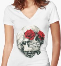 Rose Eye Skull Women's Fitted V-Neck T-Shirt