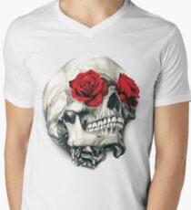 Rosen-Augen-Schädel T-Shirt mit V-Ausschnitt für Männer