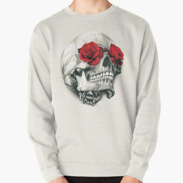 Rose Eye Skull Pullover Sweatshirt