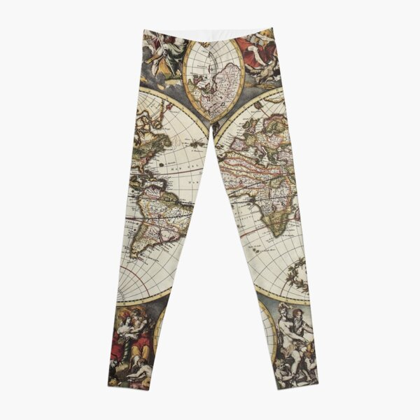 Vintage World Map by Frederick de Wit Leggings
